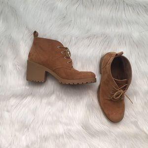 Tan chunky heeled booties